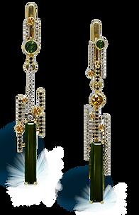 exclusive earrings, unique jewelry, absinthe formula, tourmaline, diamonds, handmade, jeweler Igor Orlov