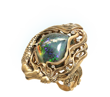 Exclusive gold ring with black australian opal and diamonds