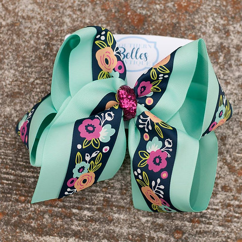 Double Layered Mint Green with Navy Floral Print Bow