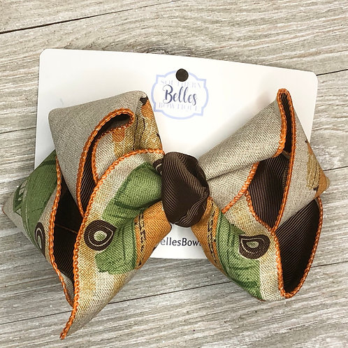 Layered Bow with Fall Truck Printed Canvas