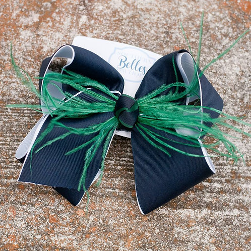 Double Layered Navy and White Bow with Green Feathers