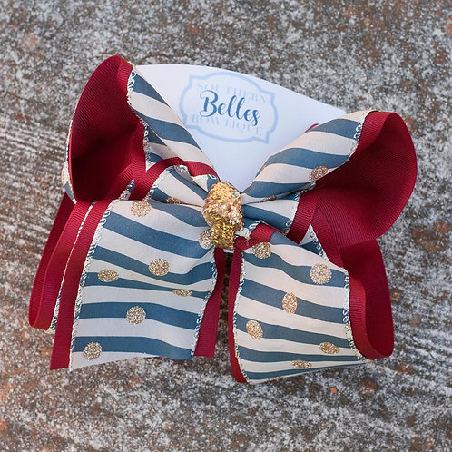 Double Layered Dark Red with Navy Stripes and Gold Glitter Polka Dot Bow