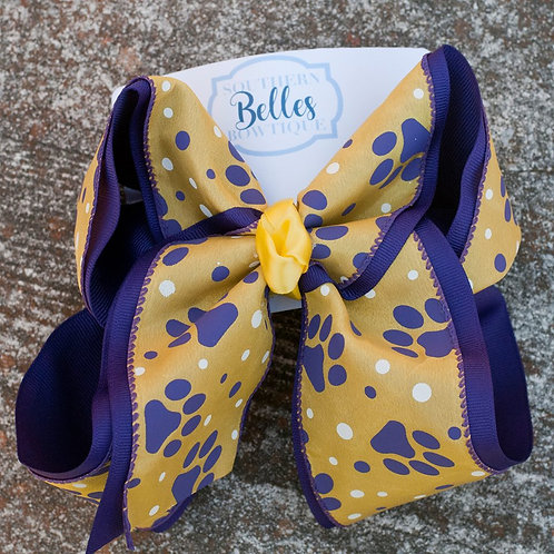 Double Layered Purple and Yellow with Paw Print Bow