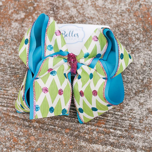 Double Layered Blue with Green and Glittered Polka Dot Bow