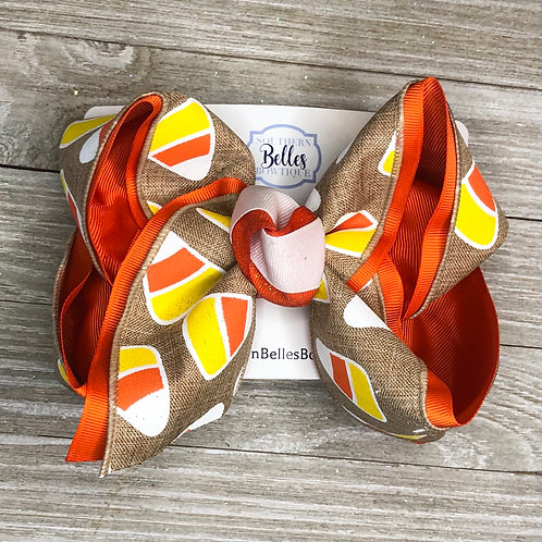 Layered Bow with Candy Corn Print Canvas