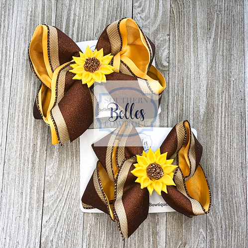 Layered Yellow, Canvas, & Copper Dazzle Bow with Handmade Sunflower Clay Center