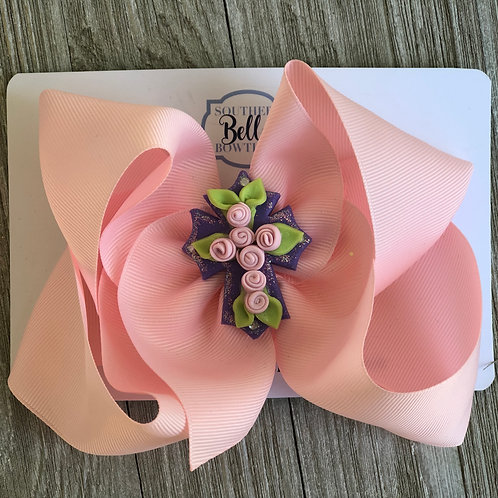 Single Layered Pink Bow with Clay Cross Center