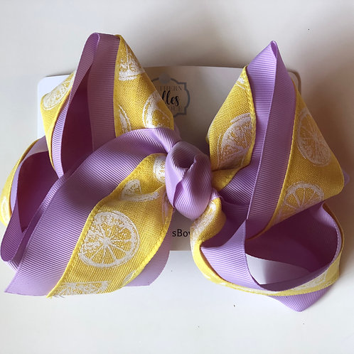 Double Layered Lemon And Lavender Bow