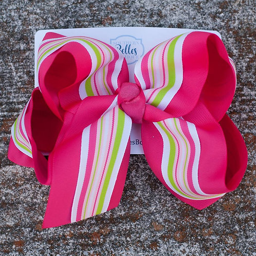 Double Layered Pink with Pink and Green Stripe Bow