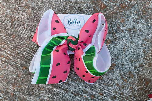 Double Layered White with Watermelon Print Bow