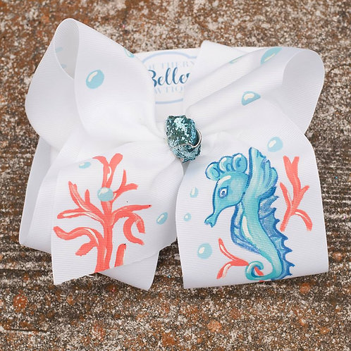 Hand Painted White Bow with Seahorse and Coral