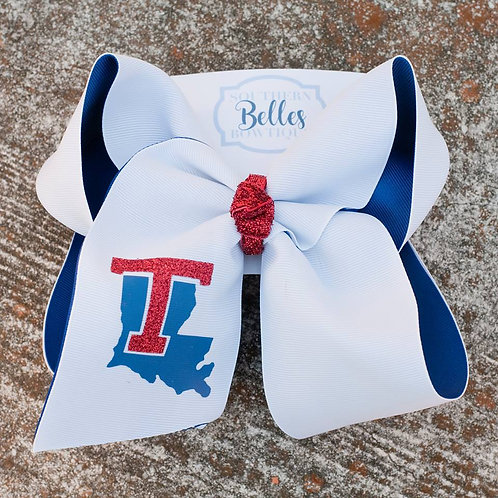 Double Layered White and Blue LA Tech Bow