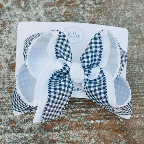 Double Layered White with Navy Gingham Bow