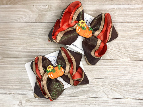 Layered Fall Bow with Handmade Clay Bow Center
