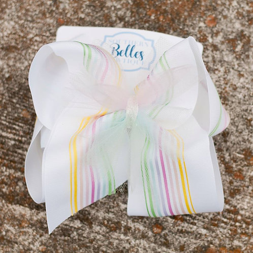 Double Layered White with Rainbow Ribbon and Tulle