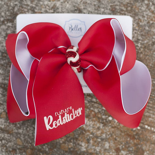 Double Layered Future Red sticker Bow