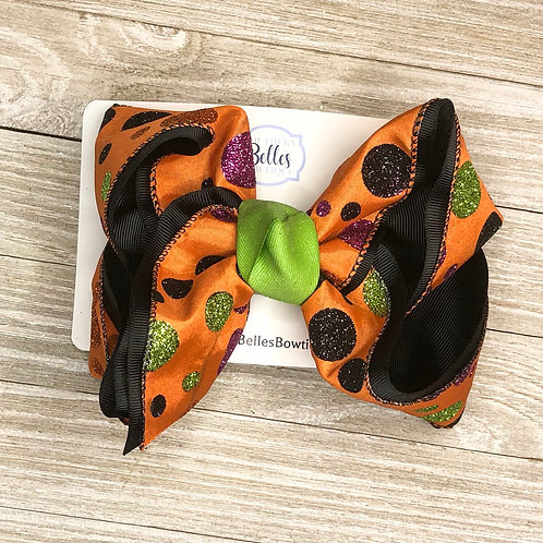 Double Layered Black and Orange Bow with Glitter Polka Dots