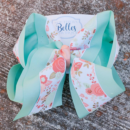 Double Layered Mint Green with Coral Flowers Bow