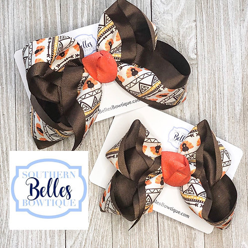 Double Layered Turkey Print Bow
