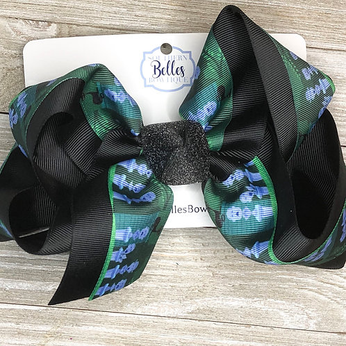 Layered Black with Haunted Mansion Print Bow