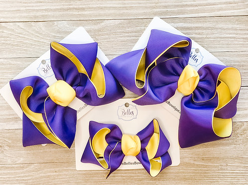 Double Layered Purple and Yellow Bow