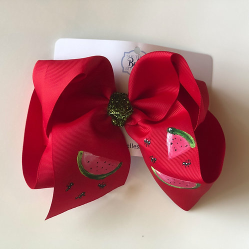 Hand Painted Red Watermelon Bow