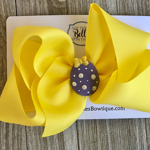 Single Layered Yellow with Purple Egg Clay Center