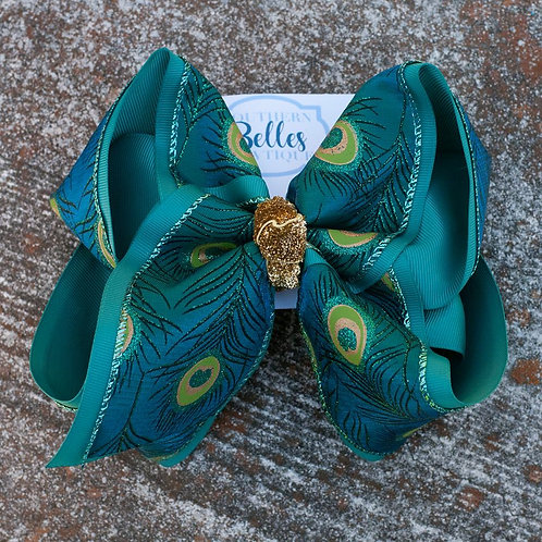 Double Layered Teal with Peacock Print Bow