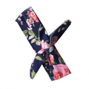 Navy/Pink Flowers Top Knot
