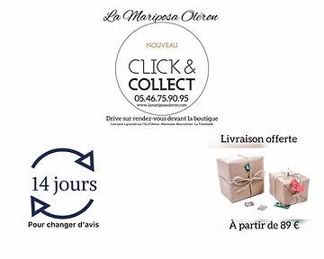 14 jours pour changer d'avis, Livraison offert a partir de 89 €, Click and collect