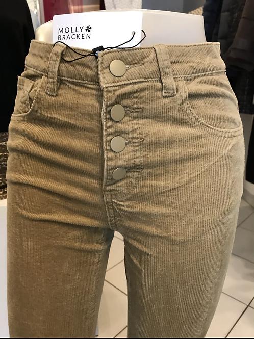 Pantalon velours jambes évasées