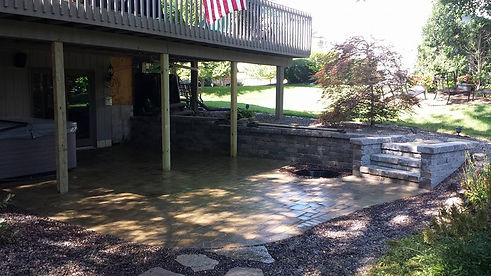 Sunken Paver Patio with retaining wall