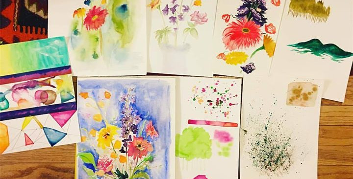 some of the pieces from my watercolor cl