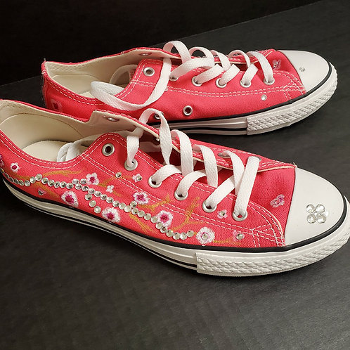 Painted Converse Pink Flower