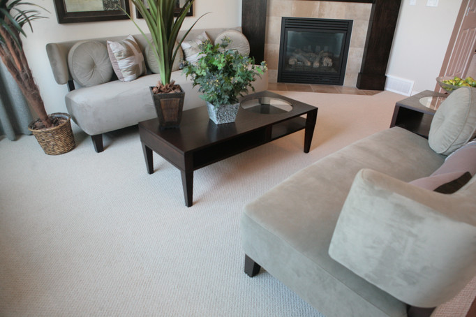 Neutral carpet in this living room creates a cozy home.