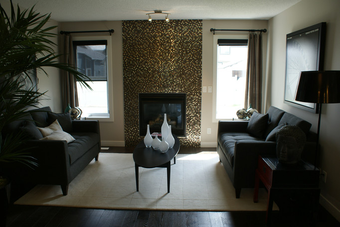 This main floor living room fireplace tile is the focus with the shine.