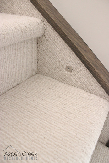 Carpet on a staircase with matching hardwood stair moldings.
