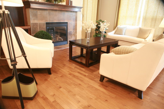 Warm wood living room