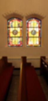 church windows, pews