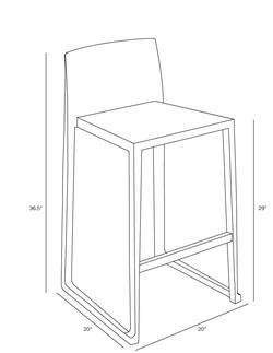 Hanna Bar Stool dimensions