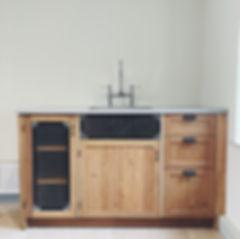 Oak and polished concrete kitchen unit London
