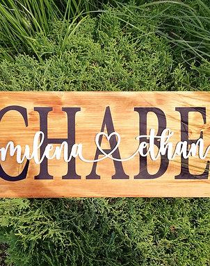 Дървена табела с фамилия и имена
