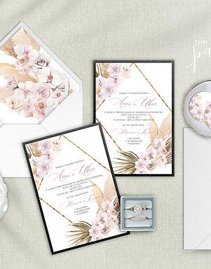 Сватбена покана и плик със стикер - Бохо орхидеи