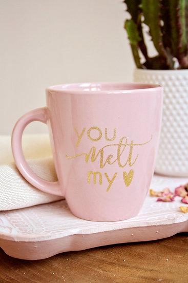 """Подарък за свети Валентин - Керамична розова чаша с ръчен златен надпис """"You Melt My Heart""""."""