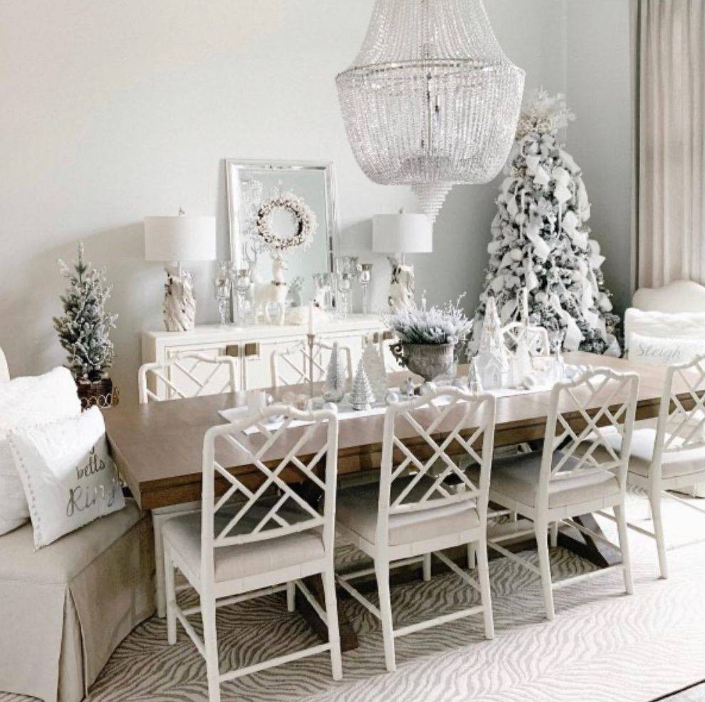 White Christmas decor with a flocked tree