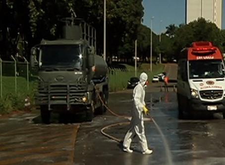 Hran e Hospital de Base passam por desinfecção feita pelo Exército