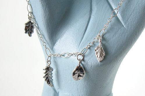 w leaf charm bracelet