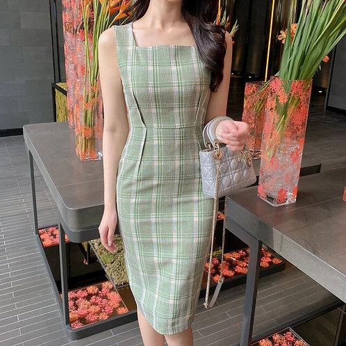 グリーンチェックドレス