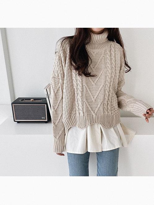Blouse Frill Highneck Knit