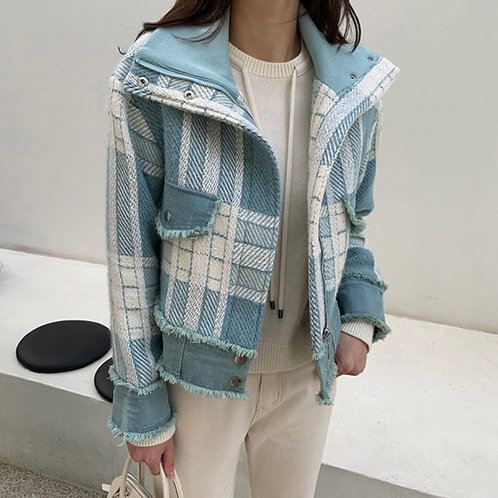 Light Blue Spring Short Jacket